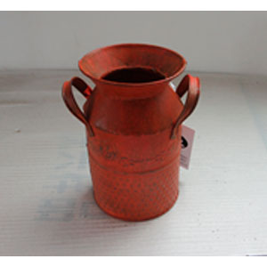 Bote para leche de metal naranja con diseño de 11x18.5cm