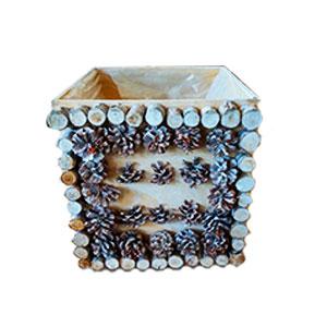 Caja de madera blanca con tapa y piñas de 22x20x25cm