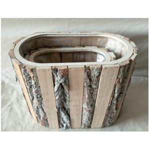 Maceta Ovalada de madera con corteza de 33x22x17cm