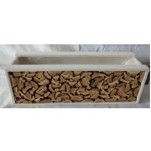 Maceta rectangular de madera blanca con corteza de 44x12x13cm