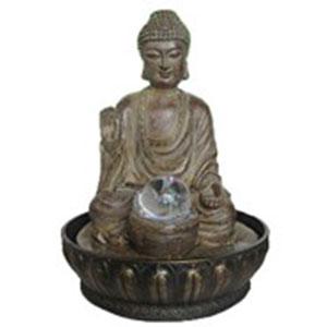 Fuente de poliresina diseño Buda redonda con luz y esfera 23x23x30cm