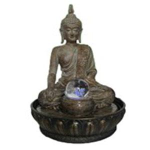 Fuente de poliresina diseño Buda redonda con luz y esfera 23x23x33.5cm