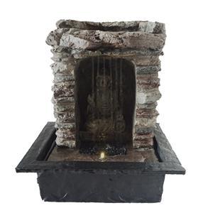 Fuente de poliresina diseño Buda con luz  y terminado piedra 22.7x18x27.3cm