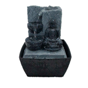 Fuente de poliresina con piedras y Buda meditando de 13x12x17cm