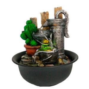 Fuente de poliresina diseño Cactus y cubetas de lámina con luz led de 20x20x21cm
