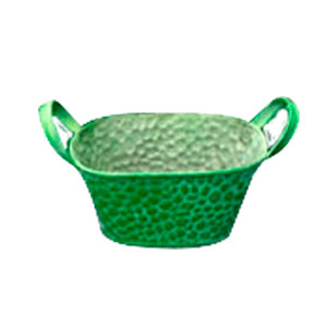 Maceta de lámina oval verde con asas de 21x14x10cm