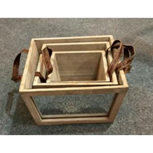 Maceta cuadrada de madera con espejos de 22x22x12cm