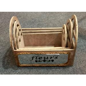 Maceta rectangular de madera con asas y espejos de 31.5x19x22.5cm