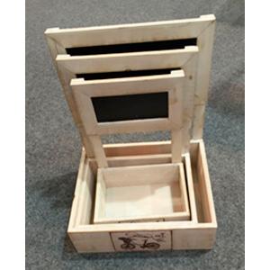 Maceta rectangular de madera con pizarrón de 26x21x33cm