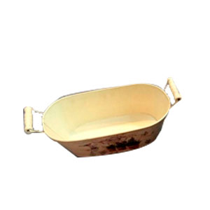 Maceta oval  de metal con asas de madera con estampado macetas de 19x11.5x7cm