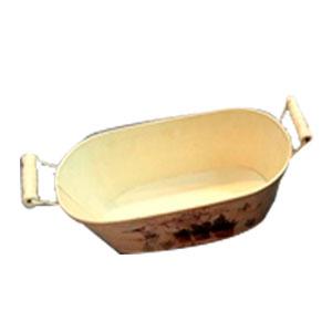 Maceta oval  de metal con asas de madera con estampado macetas de 24.5x13x8cm