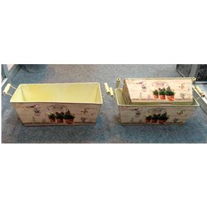 Maceta rectangular de metal con asas de madera con estampado macetas de 26.5x10.5x10cm