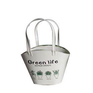 Maceta diseño bolsa de lámina crema con estampado de plantas de 19.5x11x15.5cm