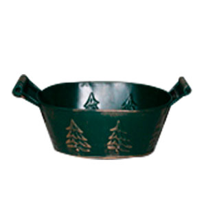 Maceta oval de lámina verde con asas estampado árbol de navidad de 24.5x16.5x9.5cm