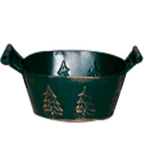 Maceta oval de lámina verde con asas estampado árbol de navidad de 28.5x19.5x11cm