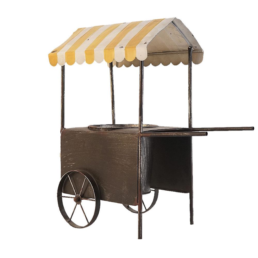 Porta macetas diseño carrito amarillo