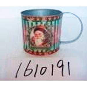 Maceta de lámina diseño taza con estampado santa claus de 18x11x11cm