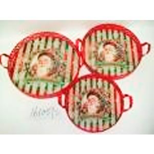 Charola redonda de metal roja con estampado santa claus de 42x38x5cm
