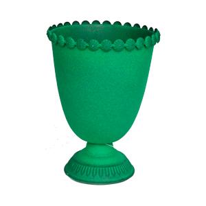 Florero diseño copa verde de 16x21cm