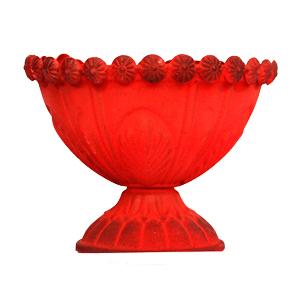 Florero diseño copa rojo de 15x12cm