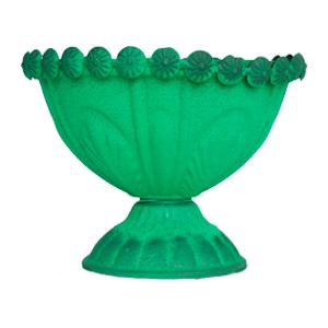 Florero diseño copa verde de 15x12cm