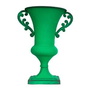 Florero diseño copa con asas verde de 15.5x24cm