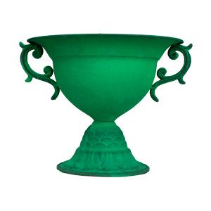 Florero diseño copa con asa verde de 26x22cm
