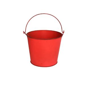 Cubeta de metal mediana roja de 16x13cm