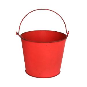 Cubeta de metal grande roja de 18x15cm