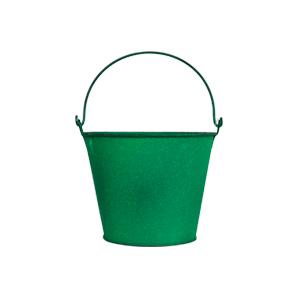 Cubeta de metal mediana verde de 16x13cm