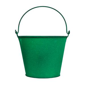 Cubeta de metal grande verde de 18x15cm