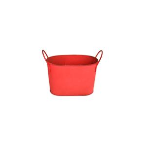 Maceta de lámina diseño tina roja de 18x9x13cm