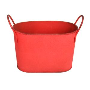 Maceta de lámina diseño tina roja de 24x13x14cm