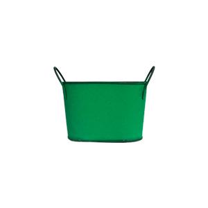 Maceta de lámina diseño tina verde de 18x9x13cm