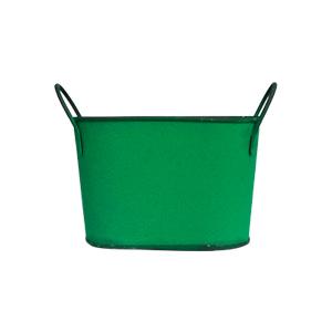 Maceta de lámina diseño tina verde de 21x11x13cm