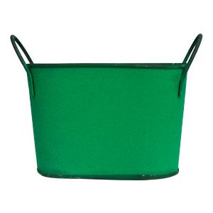 Maceta de lámina diseño tina verde de 24x13x14cm