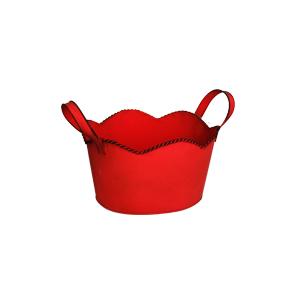 Maceta de lámina diseño tina roja de 18.5x17x11cm