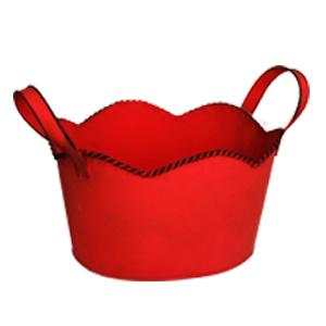 Maceta de lámina diseño tina roja de 26x23x13cm