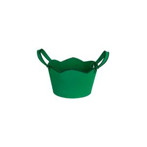 Maceta de lámina diseño tina verde de 18.5x17x11cm