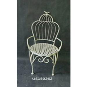 Porta macetas de metal blanco diseño silla con respaldo de jaula 32x31.5x56cm