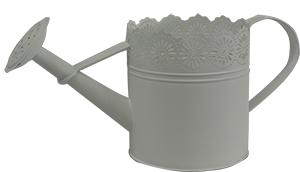 Maceta de lámina diseño regadera blanca de 15x15x15cm