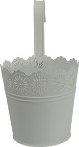 Maceta de lámina diseño cubeta blanca c/asa de 16x11.5x14.5cm