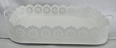 Charola  de lámina rectangular blanca de32*22x31.3*21.3x5cm