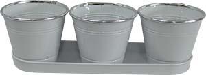 Maceta de lámina triple diseño cubetas blanca de 35*11.5x32*9x10.5cm