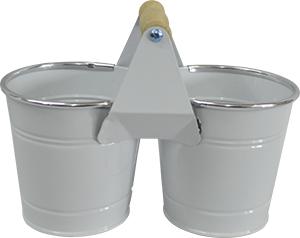 Maceta de lámina doble diseño cubetas blanca de22*11x8x10.7cm