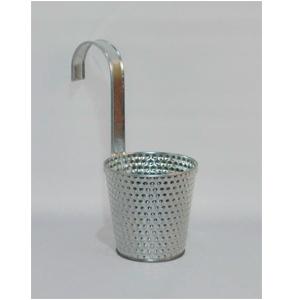 Maceta de lamina con gancho cromada diseño puntos de 11x8x10cm