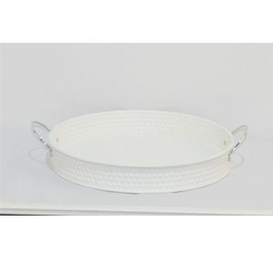 Charola redonda con circulos blanca de 30x30x4.5cm
