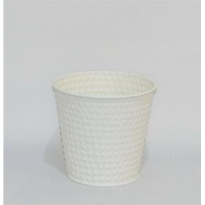Maceta diseño cubeta de circulos blancos de 14x10x12cm