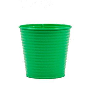 Maceta diseño cubeta de lámina color verde de 16x12x14cm