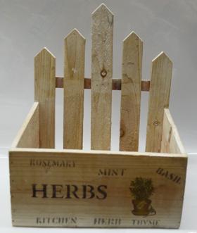 Maceta rectangular de madera diseño cerca con estampado de flores de 23x19x27cm